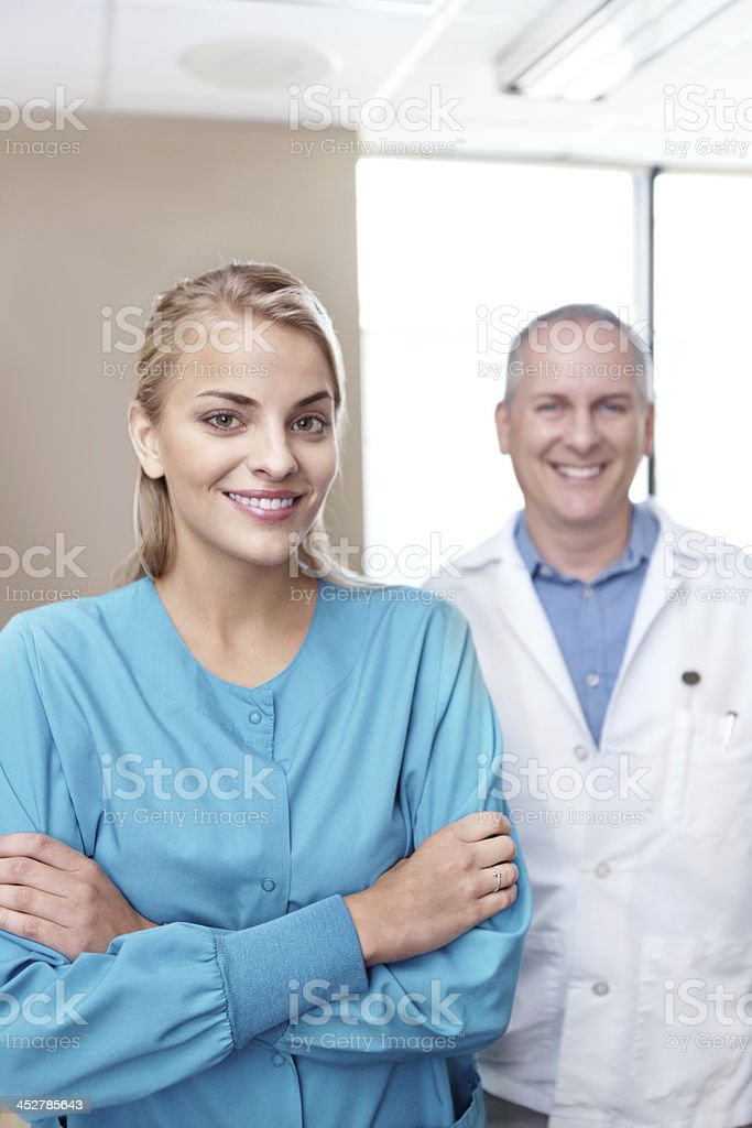 Assisting with a smile royalty-free stock photo