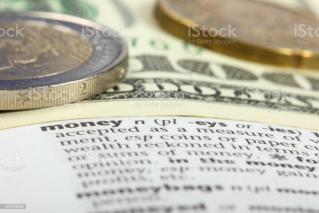 Associations. What the words mean. Money. stock photo