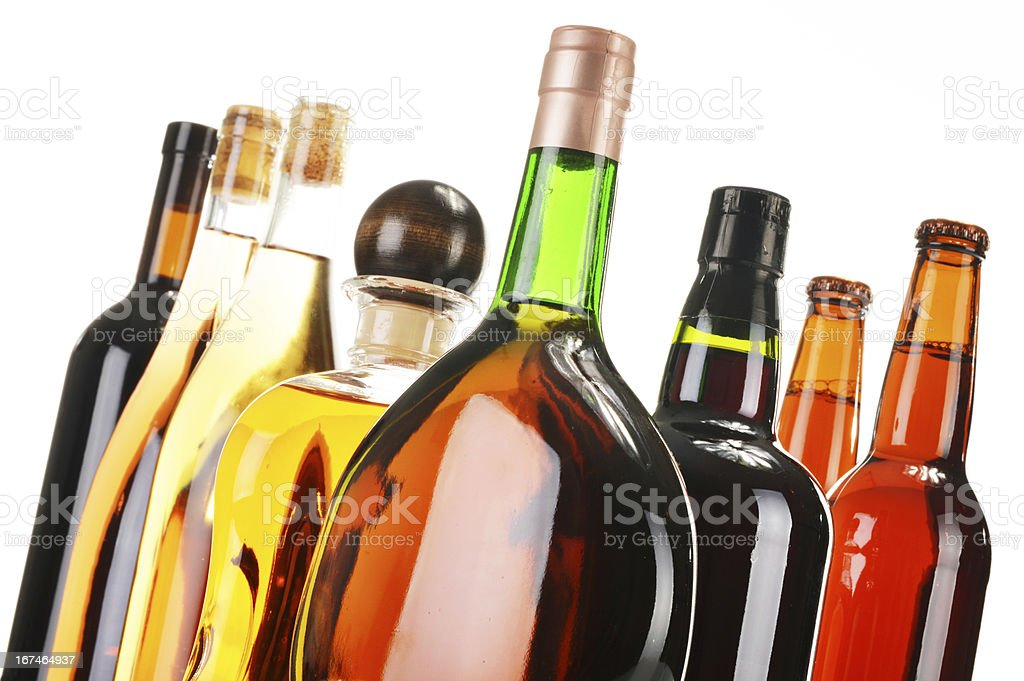 Assorted alcoholic beverages isolated on white royalty-free stock photo