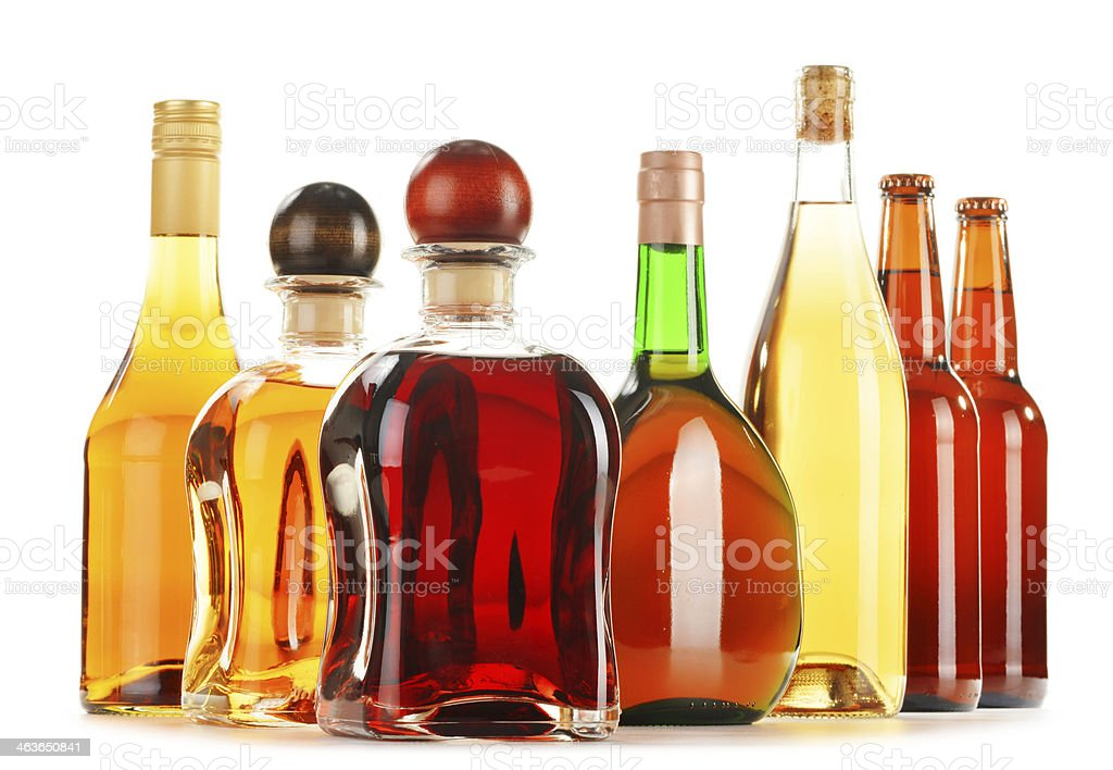 Assorted alcoholic beverages isolated on white stock photo