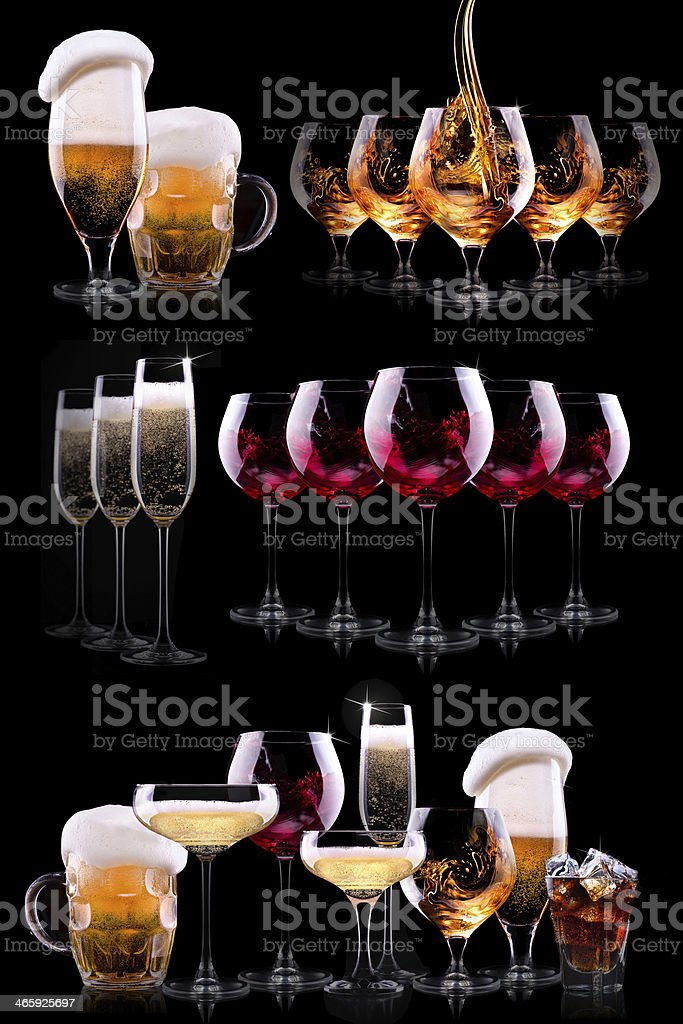 Assorted alcoholic drinks displayed on black background stock photo