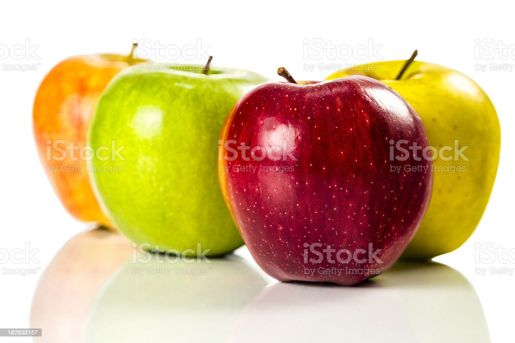 Assorted Apples isolated on white backbround royalty-free stock photo