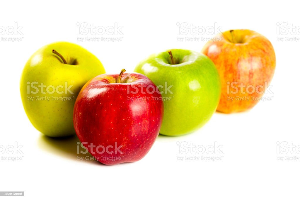 Assorted Apples isolated on white backbround stock photo