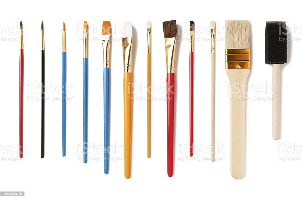 Assorted Artist Paintbrushes Isolated on White Background stock photo