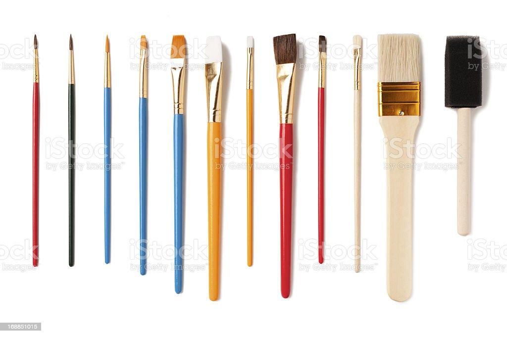 Assorted Artist Paintbrushes Isolated on White Background stock photo