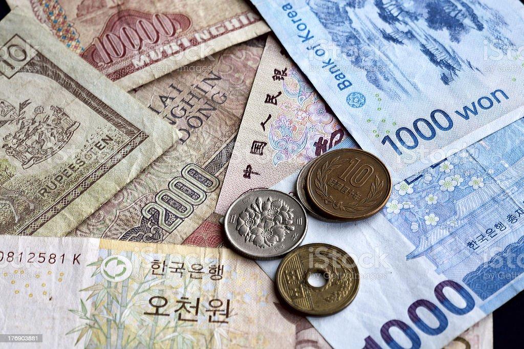 Assorted Asian money. stock photo