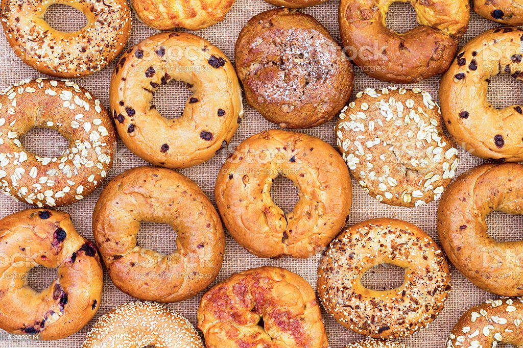 Assorted bagels in a full frame background stock photo