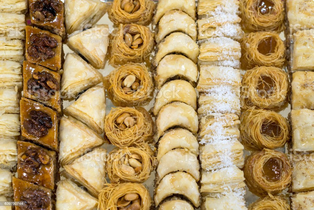 Assorted baklava, sweet pastry made of layers stock photo