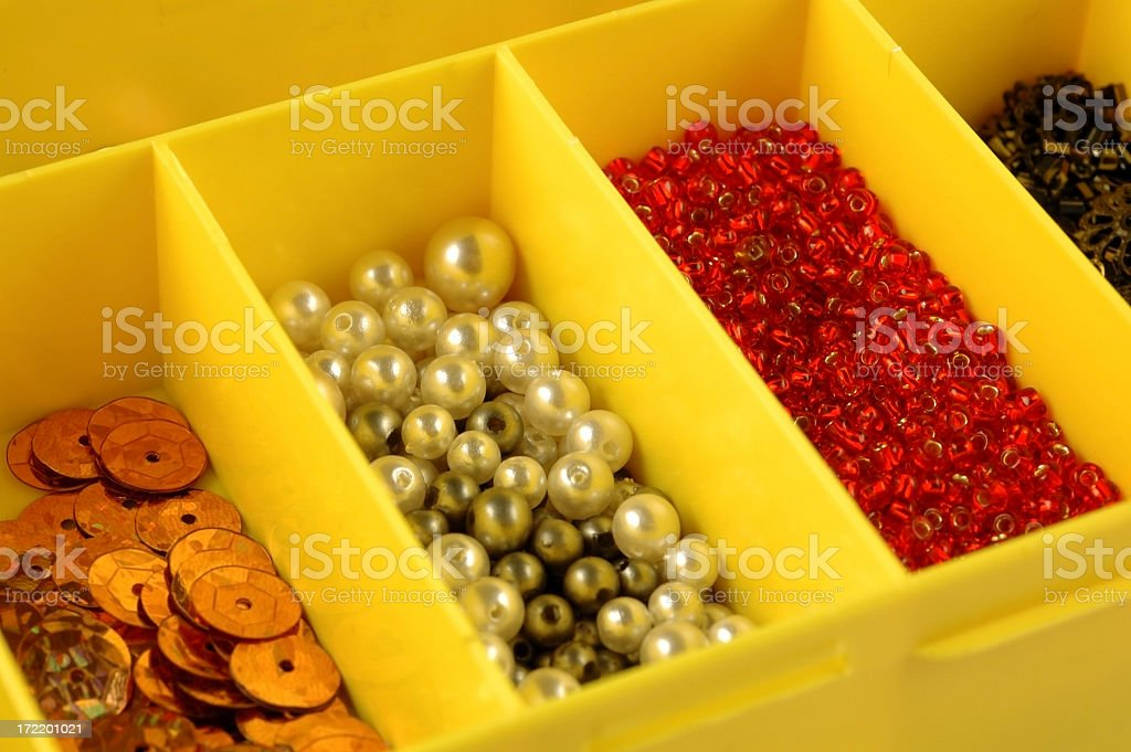 Assorted beads and sequins royalty-free stock photo