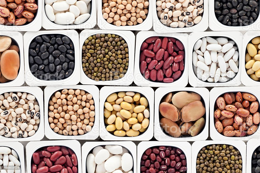 Assorted beans stock photo