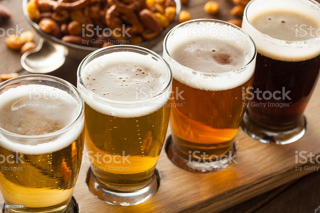 Assorted Beers in a Flight stock photo