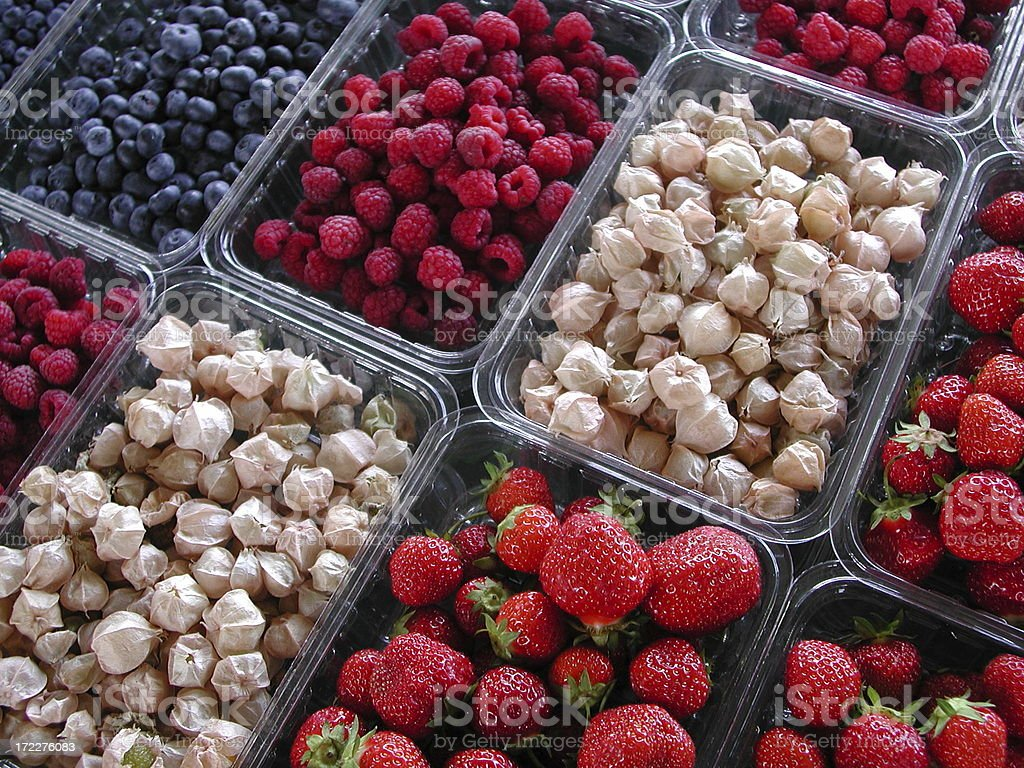 Assorted berries for sale at the farmer's market royalty-free stock photo
