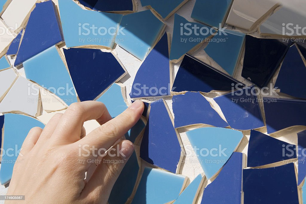 Assorted blue colored mosaic tiles stock photo
