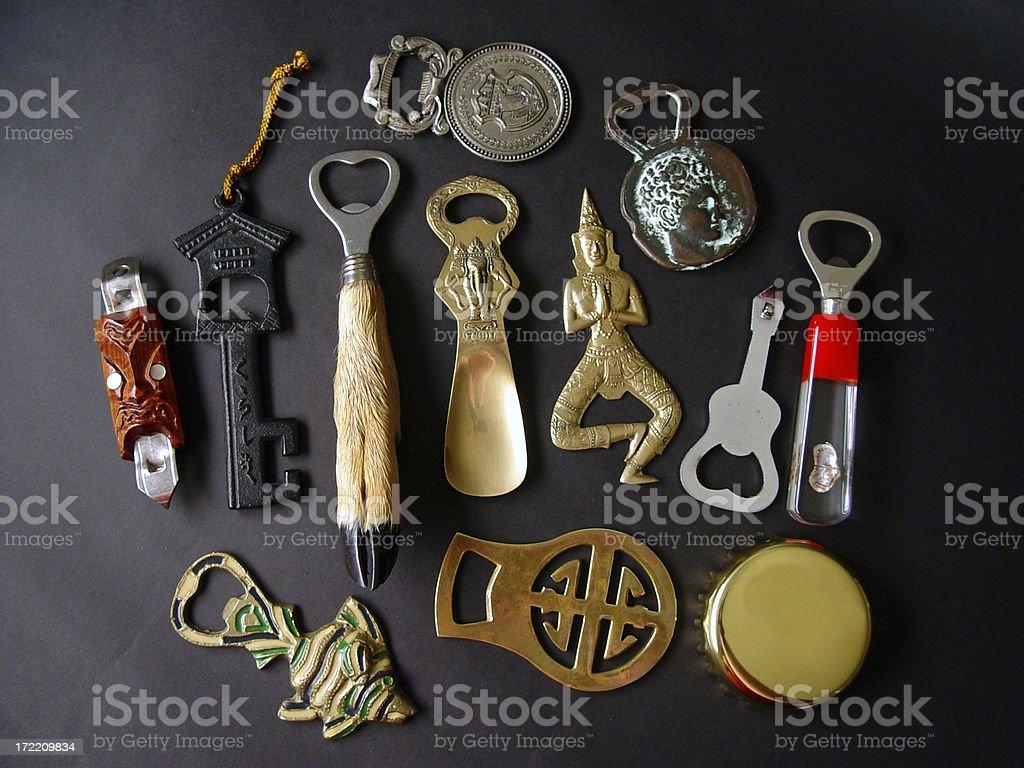 Assorted bottle openers stock photo
