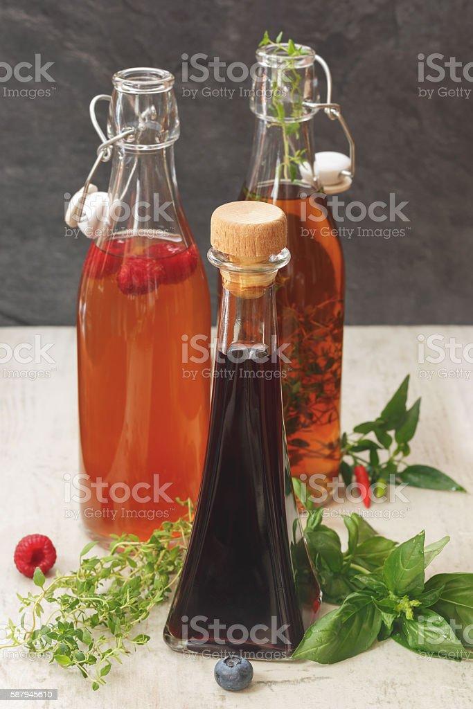 Assorted bottles of vinegar stock photo