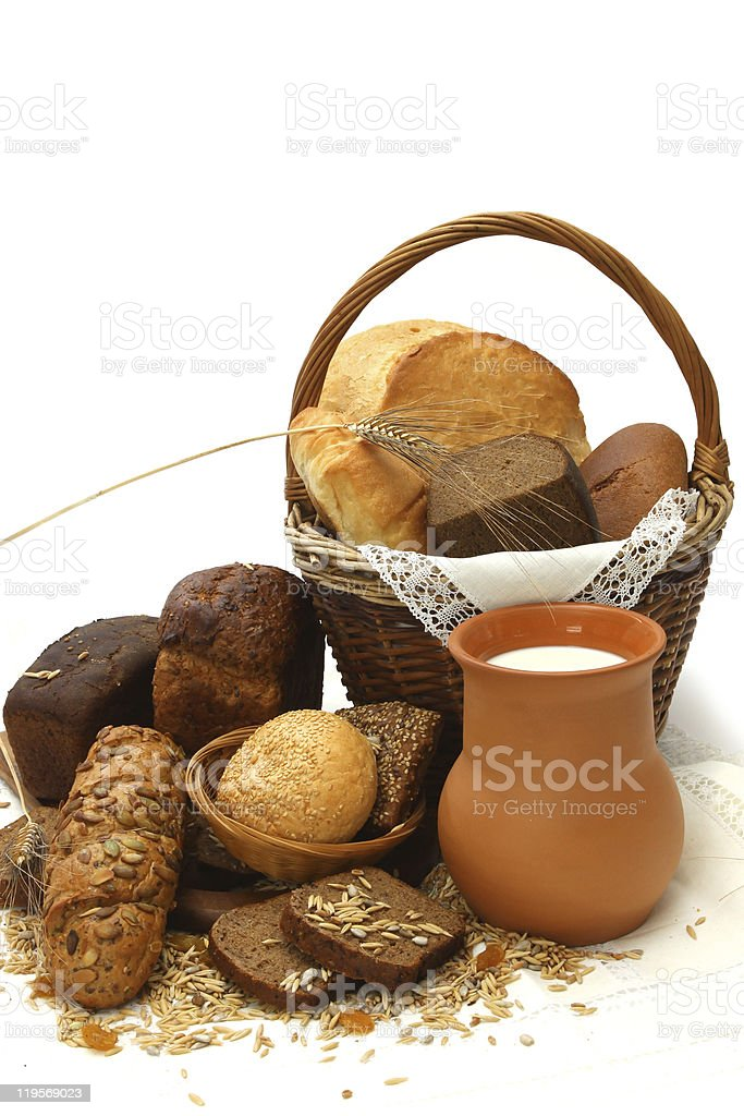 Assorted bread and  milk royalty-free stock photo