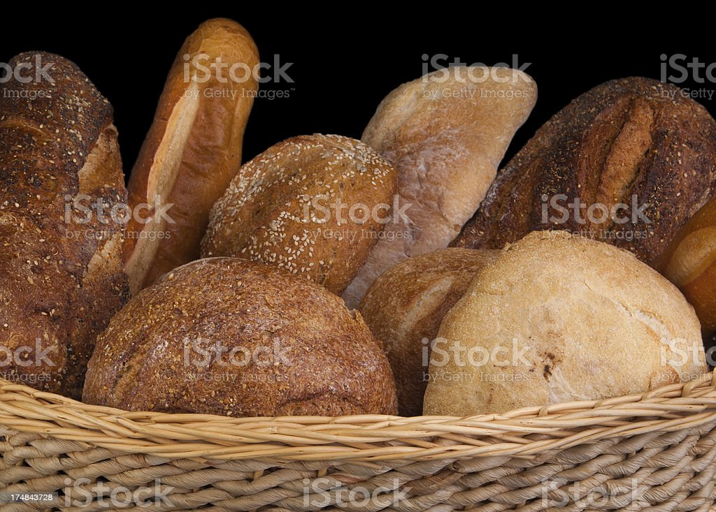 assorted bread in basket royalty-free stock photo