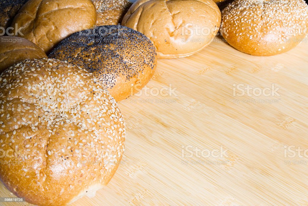Assorted Bread Rolls with Copy Space stock photo