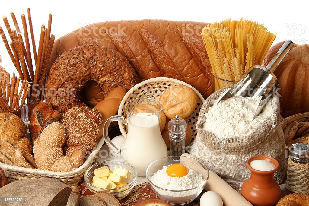 Assorted breads and ingredients royalty-free stock photo