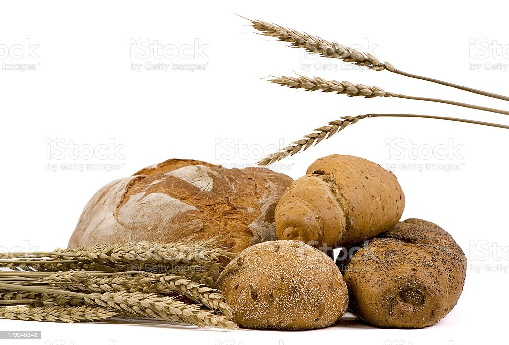 Assorted Breads with wheat isolated royalty-free stock photo