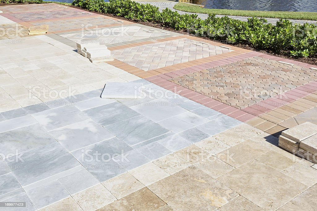 Assorted brick pavers on display royalty-free stock photo