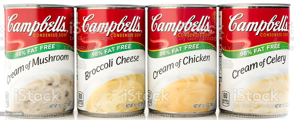 Assorted Campbell's Condensed Cream Soups stock photo