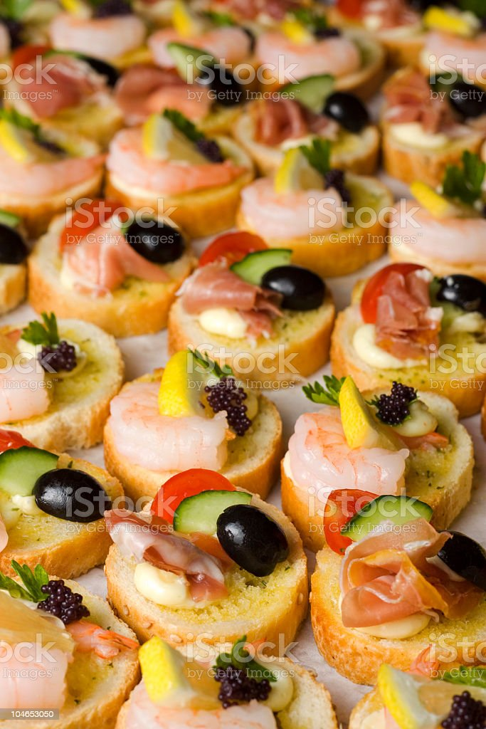 Assorted Canapes royalty-free stock photo