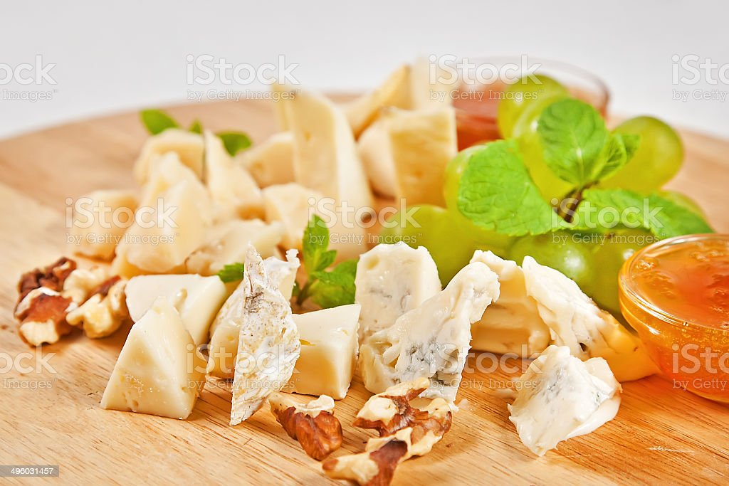 Assorted cheese plate royalty-free stock photo