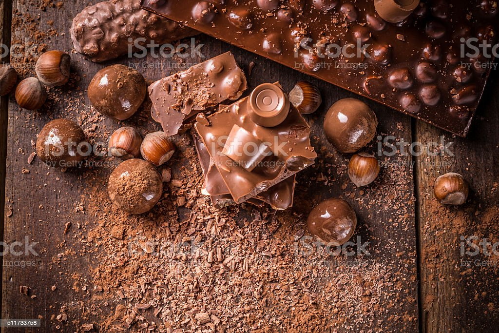 Assorted chocolate pralines stock photo