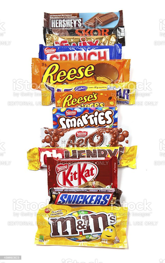 Assorted Chocolate Products in a Row stock photo