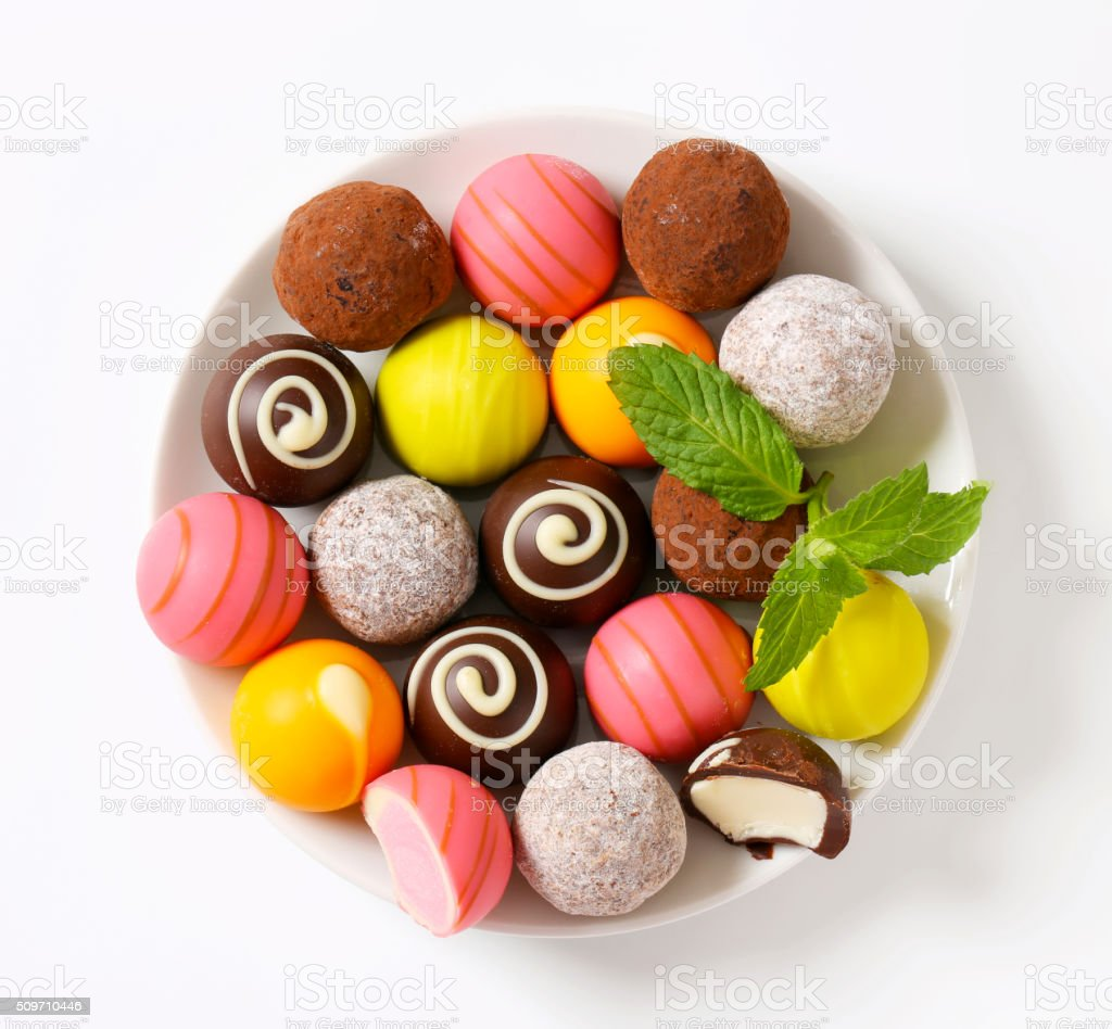 Assorted chocolate truffles and pralines stock photo