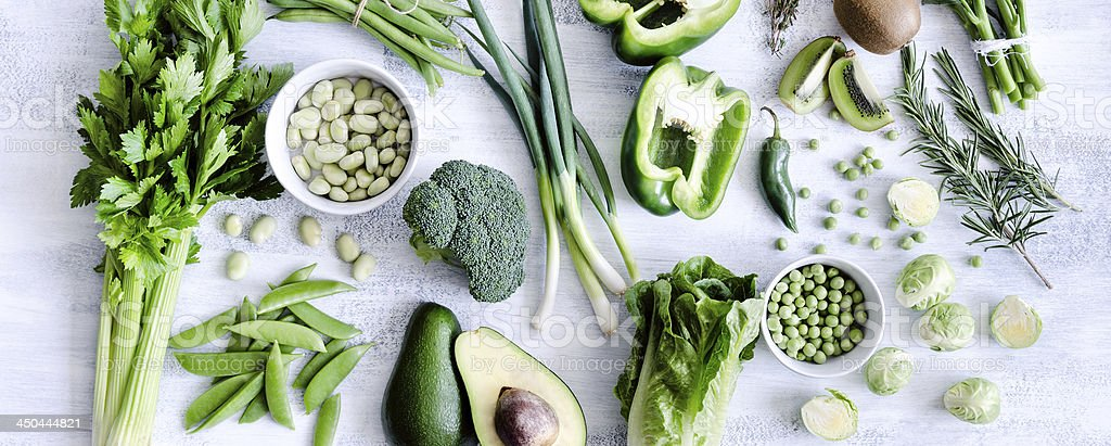 Assorted collection of green vegetables stock photo