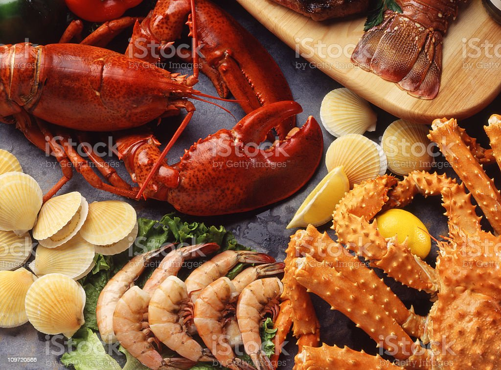 Assorted collection of shellfish stock photo