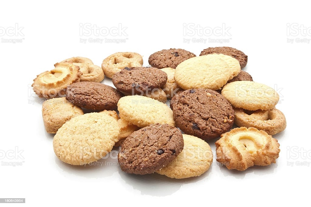 Assorted cookie isolated on white royalty-free stock photo