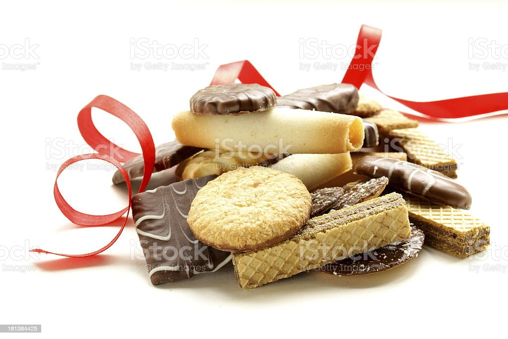 Assorted cookies with chocolate and nuts on  white background royalty-free stock photo