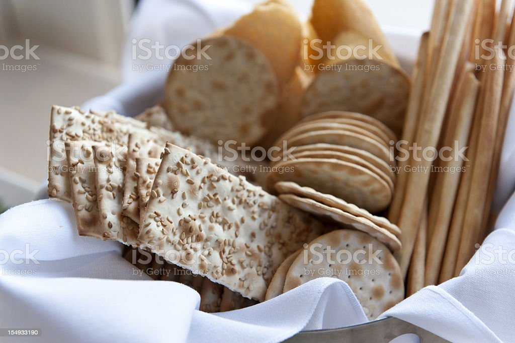 Assorted crackers stock photo