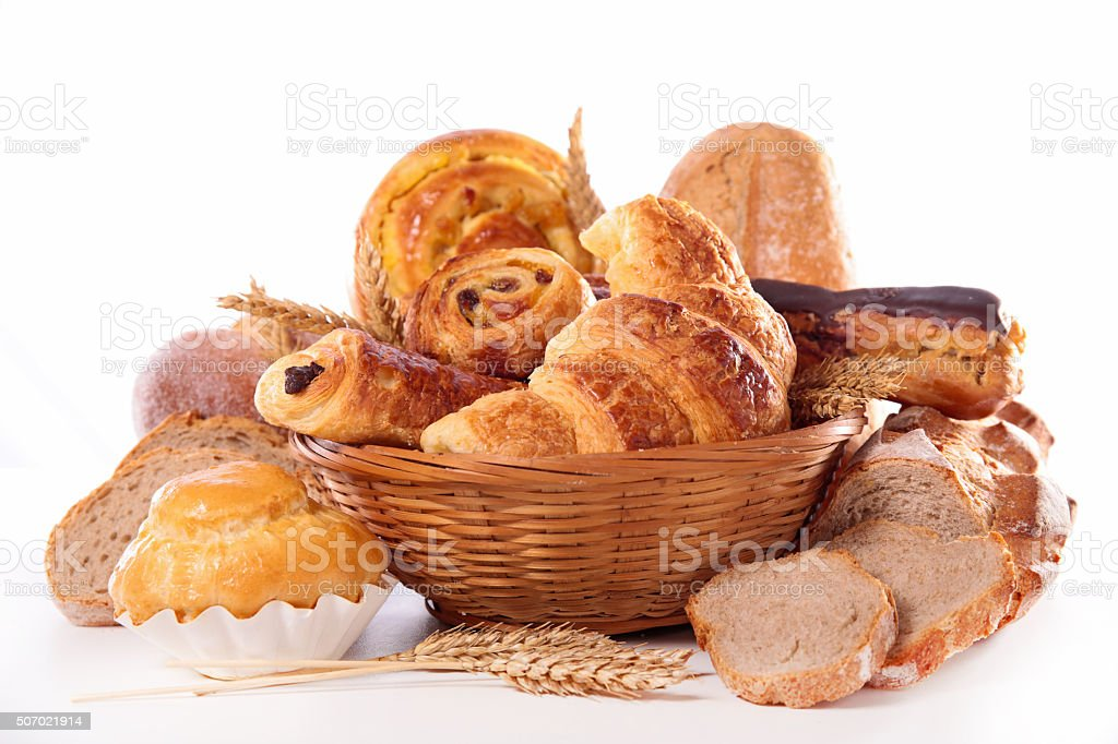 assorted croissand and bread stock photo