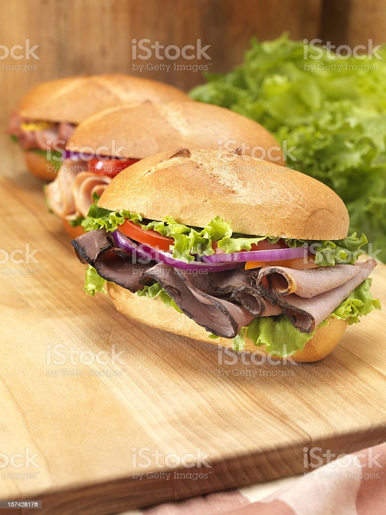 Assorted Deli Sandwiches royalty-free stock photo