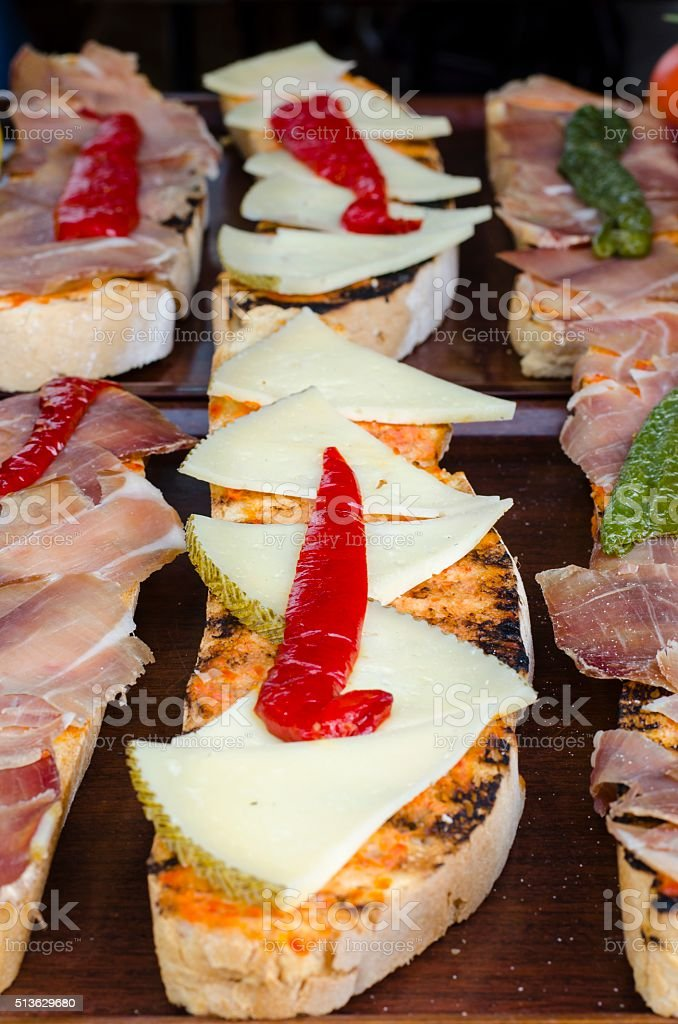 Assorted delicious baguette sandwiches stock photo