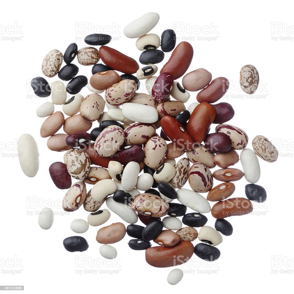 Assorted dried beans stock photo