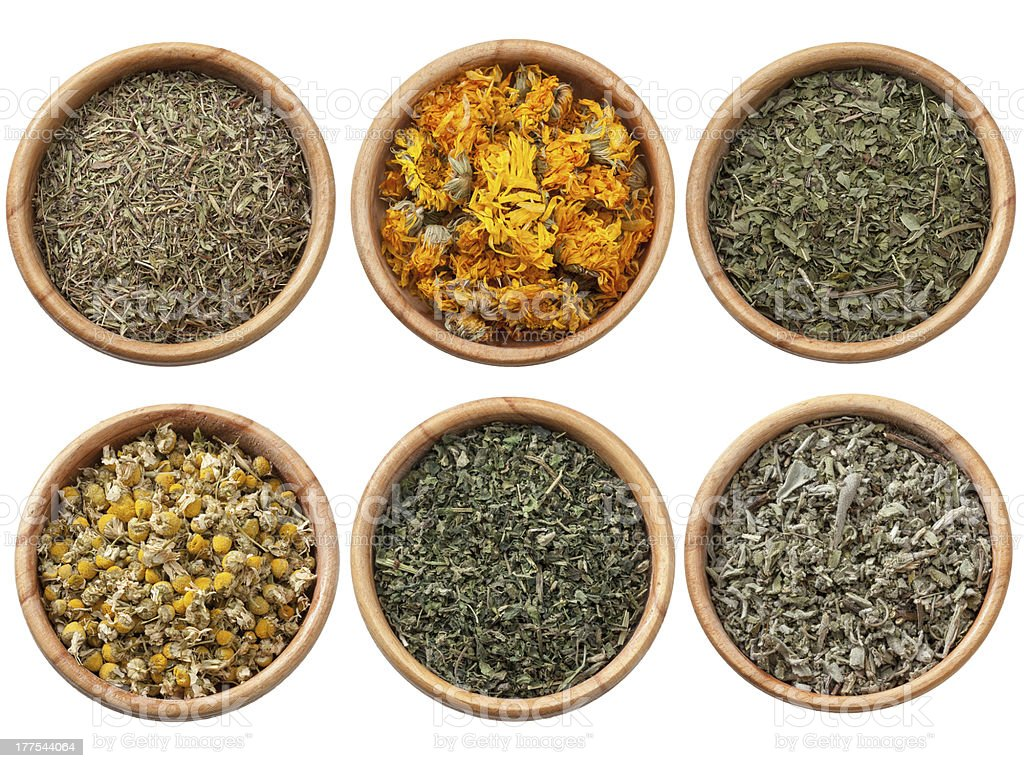 Assorted dry herbs and spices royalty-free stock photo