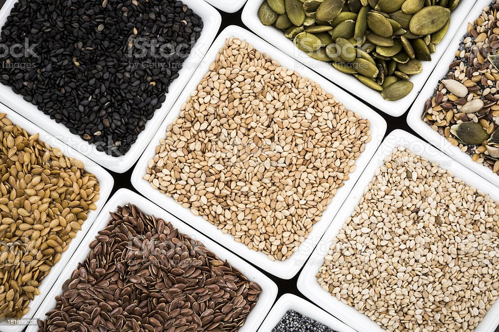 Assorted edible seeds royalty-free stock photo