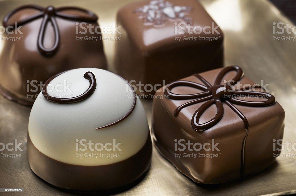 Assorted elegant chocolate truffles royalty-free stock photo