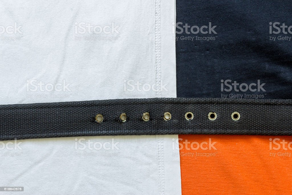 Assorted fabric materials background stock photo