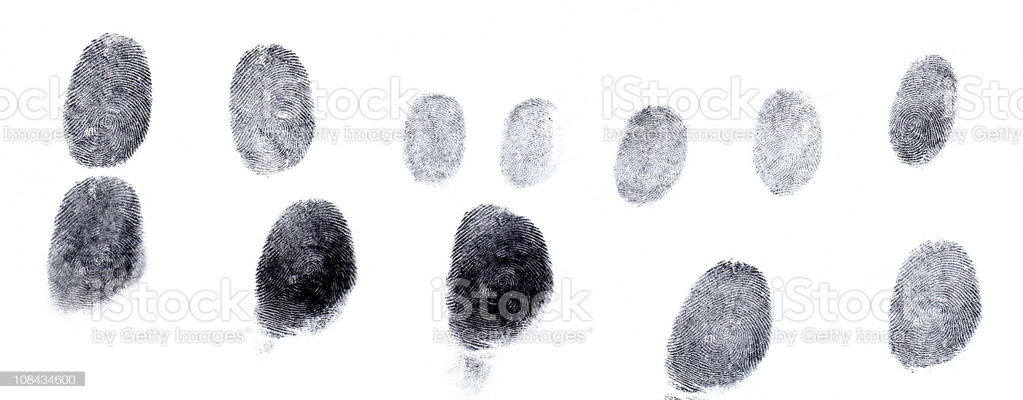 Assorted fingerprints royalty-free stock photo