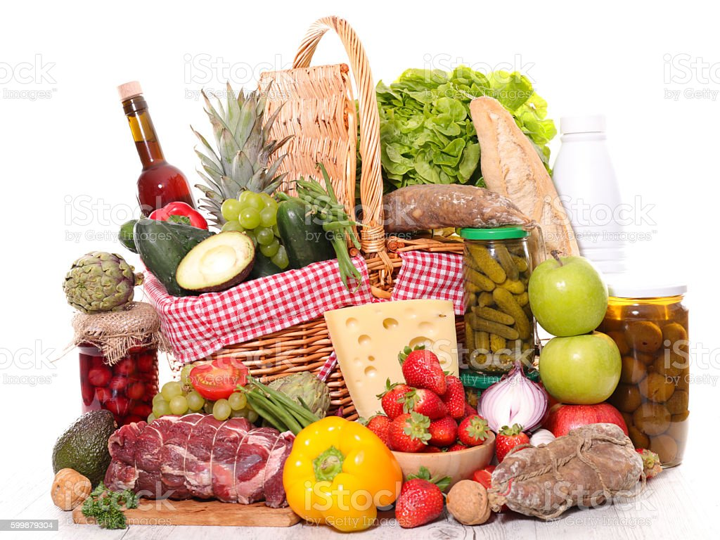 assorted food and drink stock photo