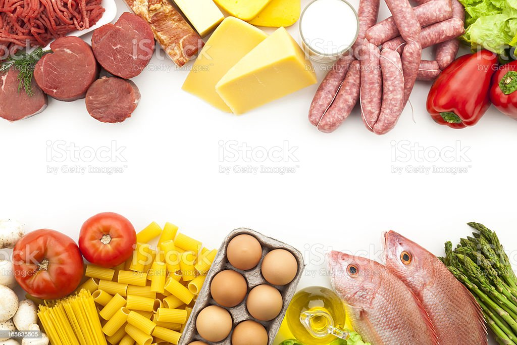 Assorted food border with copy space royalty-free stock photo