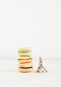 Assorted french  colorful macaroons on a white background
