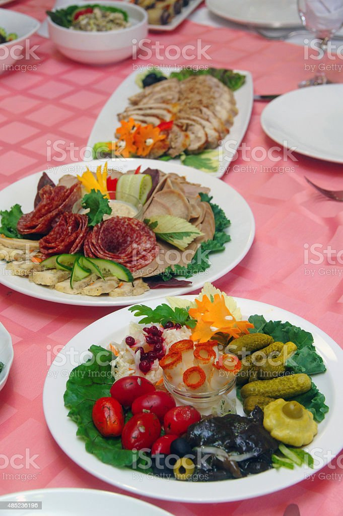 Assorted fresh salads stock photo