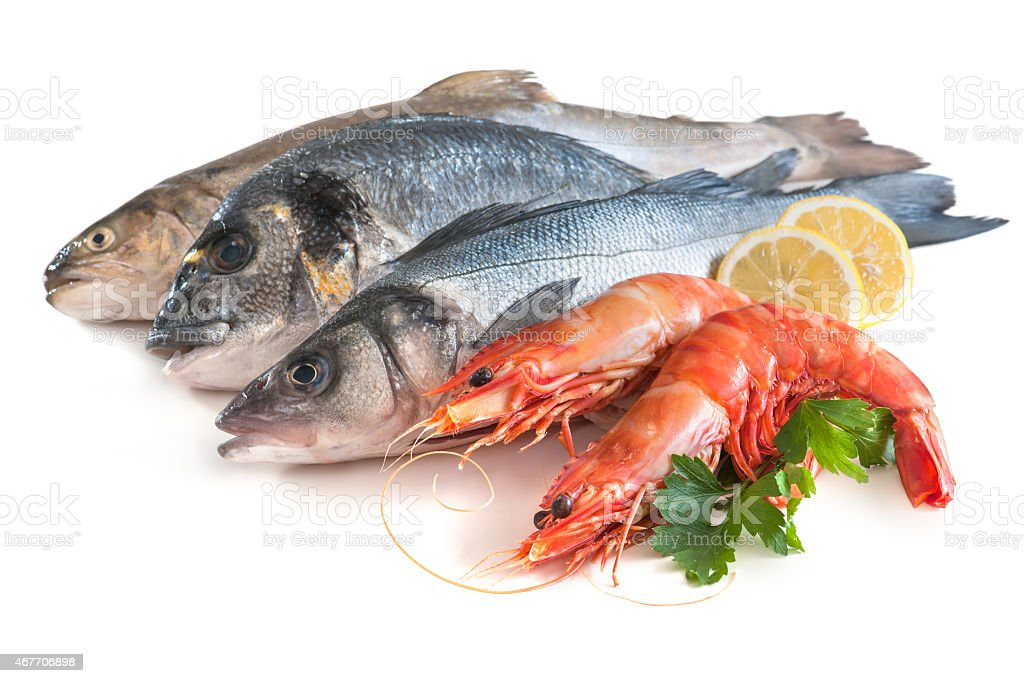Assorted fresh seafood stock photo